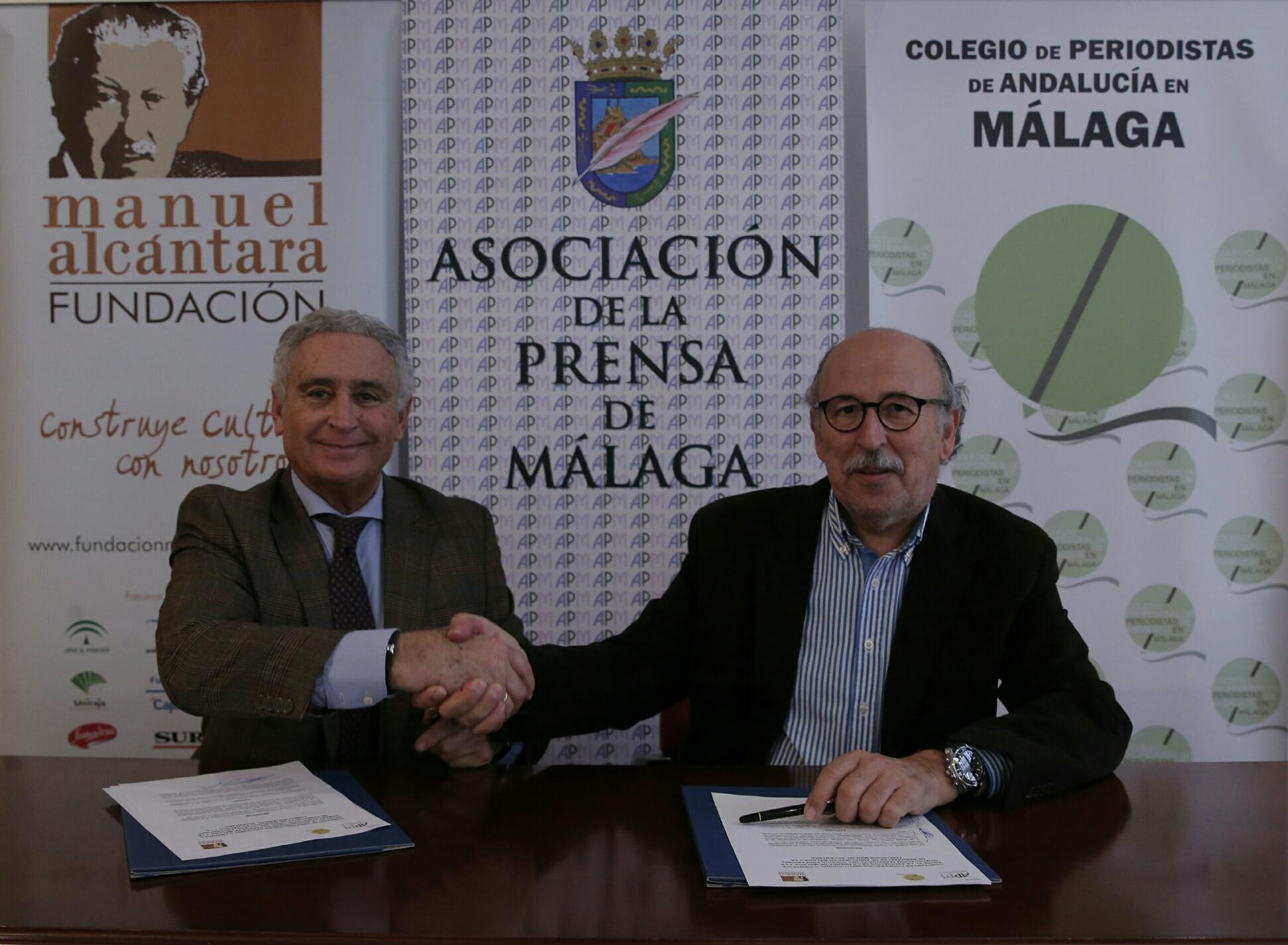 Firma convenio entre Asociación de la Prensa y Fundación Manuel Alcántara