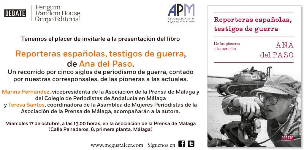 INVITACION. Presentación del libro de Ana del Paso Reporteros españolas testigos de guerra