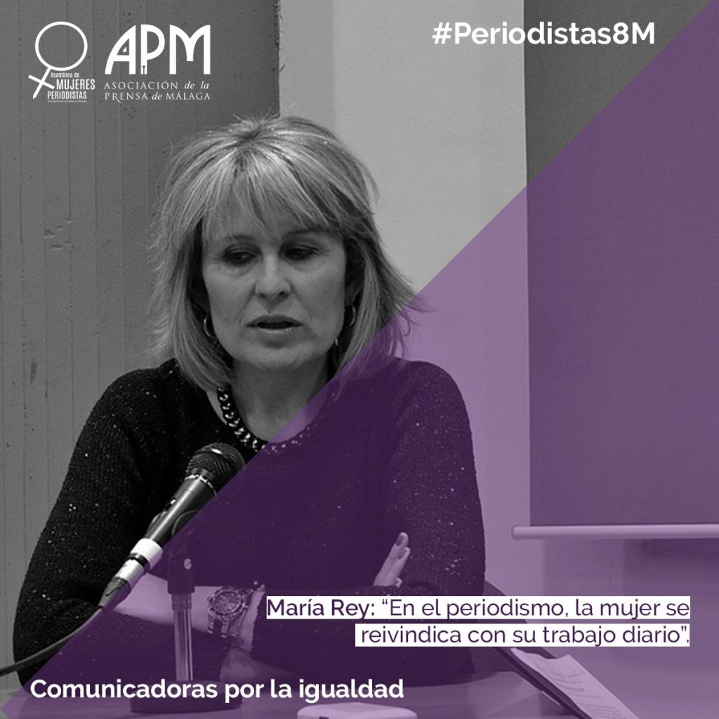 Una de las imágenes de la campaña 'Comunicadoras por la igualdad' en redes sociales en las que se han seleccionado frases de mujeres periodistas, en este caso María Rey, que trabajan y han trabajado por la igualdad. @MujeresAPM