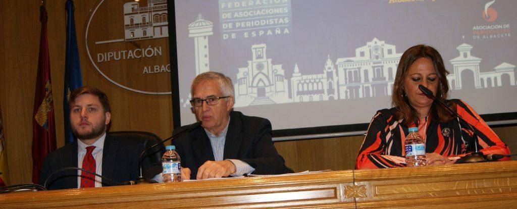Inauguración Asamblea FAPE. Ignacio Hernando portavoz del Gobierno de CLM Nemesio Rodríguez presi. de FAPE y Ana Collado presi. de Asoc. Albacete
