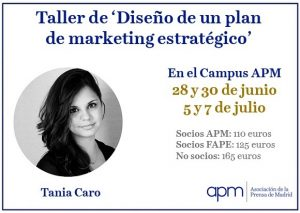 La Asociación de la Prensa de Madrid organiza un taller sobre diseño de un plan de marketing abierto a miembros de la FAPE